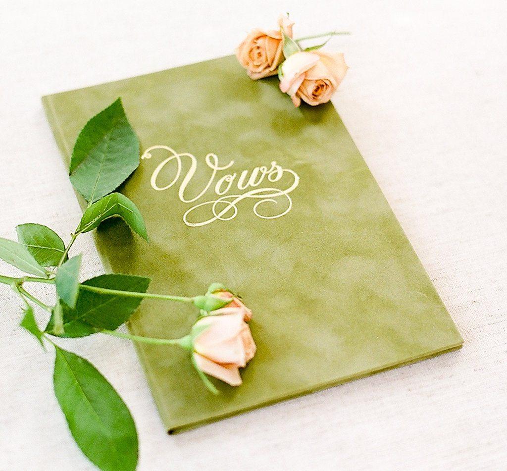 "Moss Green ""Vows"" vow book"