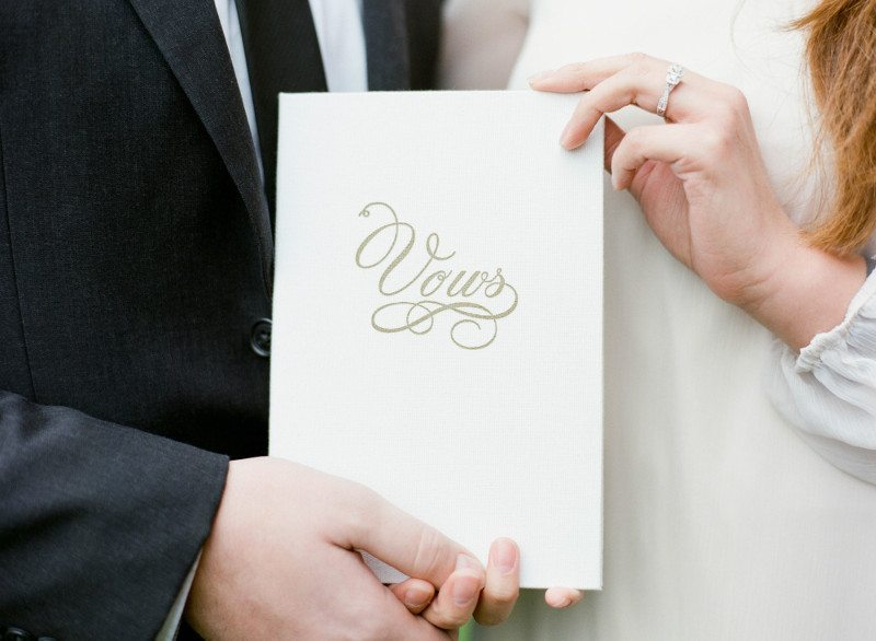 White Linen Vow Book