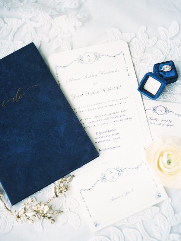 Navy blue Wedding Story Writer Vow Book