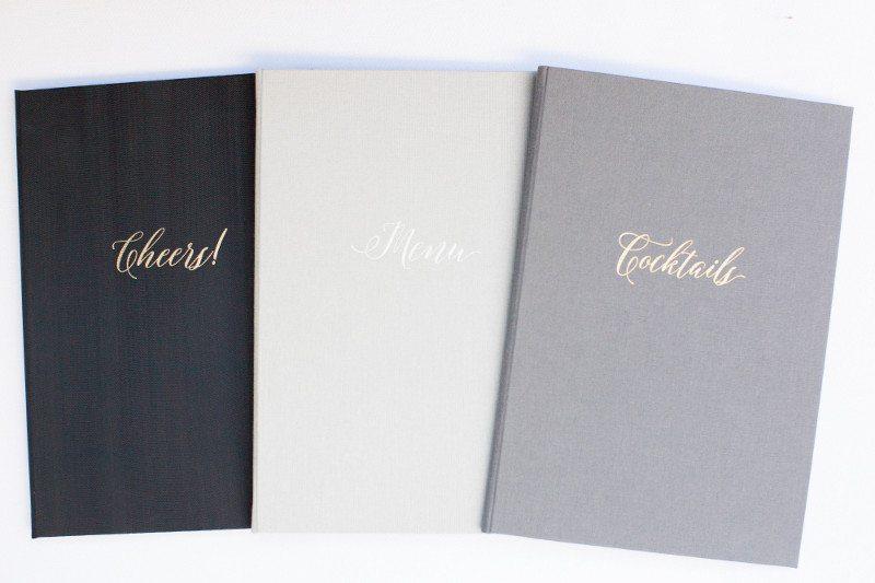 Luxury menu books for weddings, cocktails, menu, cheers