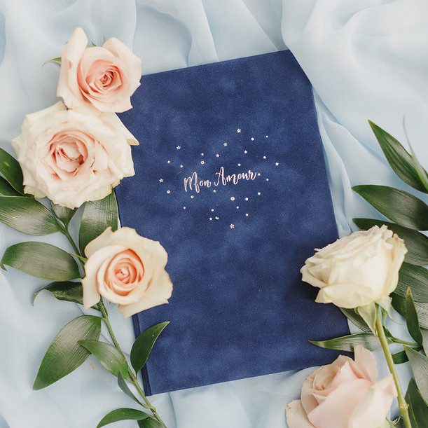 blue velvet mon amour vow book weddings france
