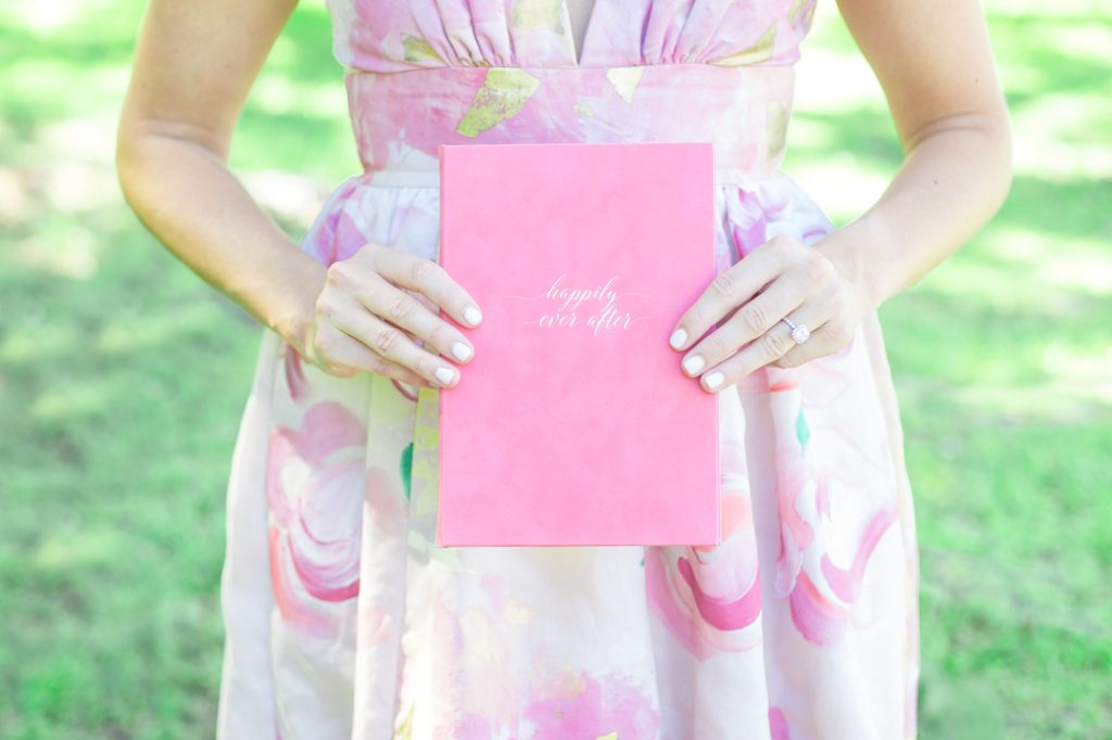 Velvet vow book in hot pink with gold foil for summer southern weddings