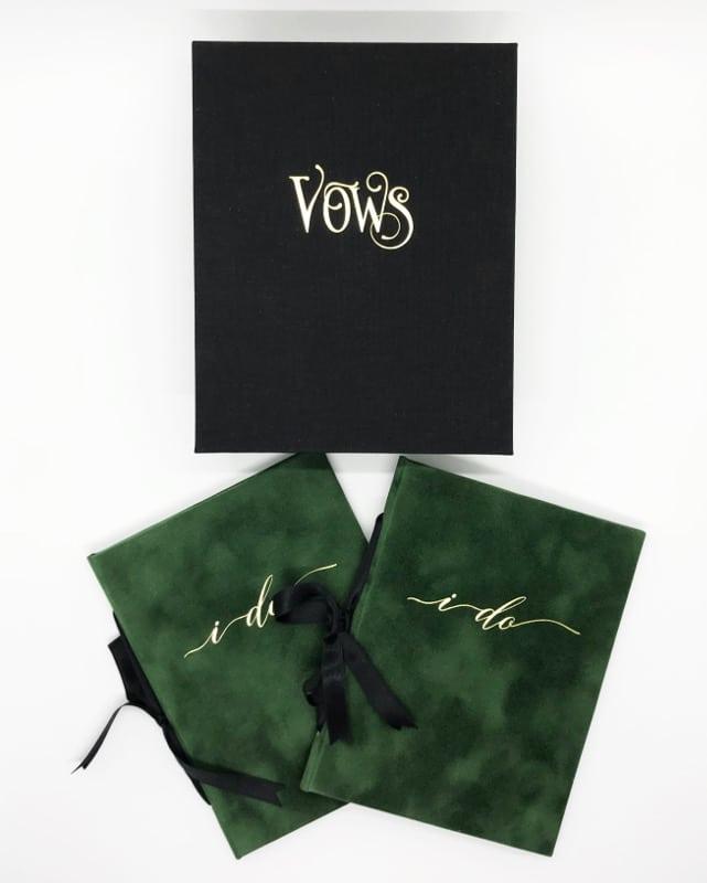 Emerald green vow booklets, velvet vow books, vow book box, keepsake wedding memorabilia, wedding box, heirloom wedding day keepsakes, something old, something new, borrowed, blue, black linen, black green weddings, island wedding, irish wedding