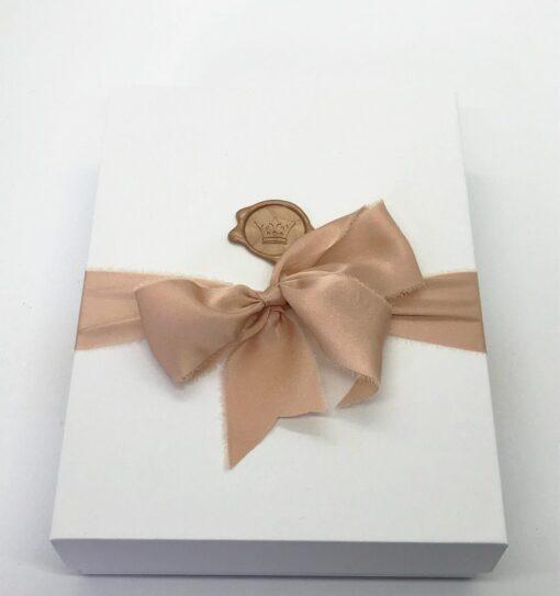 wedding story writer book box silk ribbon wax seal custom