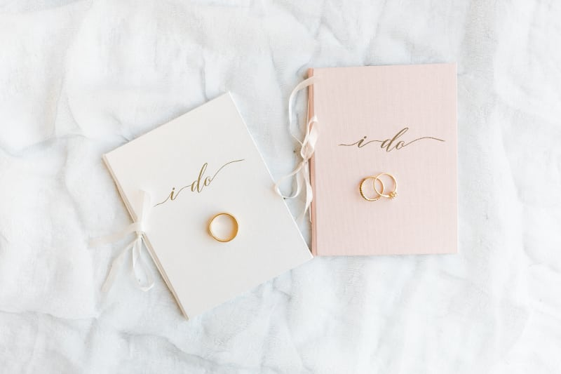 Pink Mini White Vow Book Booklet Wedding Story Writer