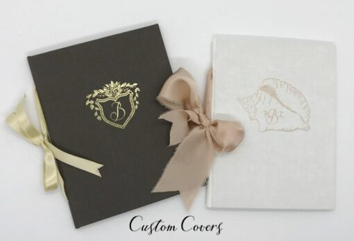 custom vow books crest monogram destination wedding Bahamas One Only Dunmore Queen Conch the other side