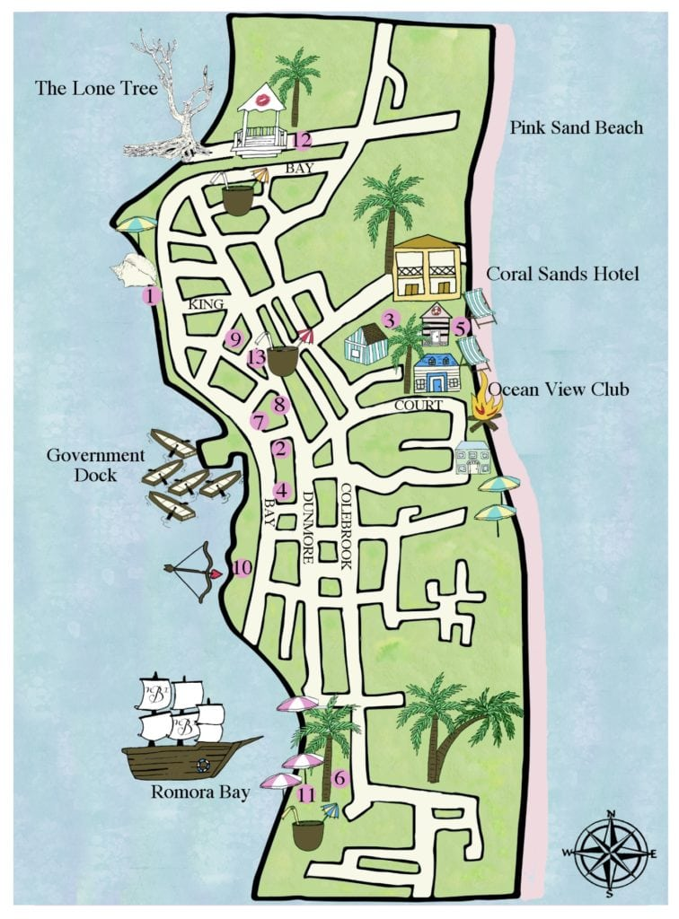 custom map, welcome book, wedding guests welcome gifts, framable wedding map, hand painted maps, The Bahamas, Harbour Island Map, Dunmore, Coral Sands Beach, Government Dock, Ocean View Club, The lone tree, Wedding Story Writer