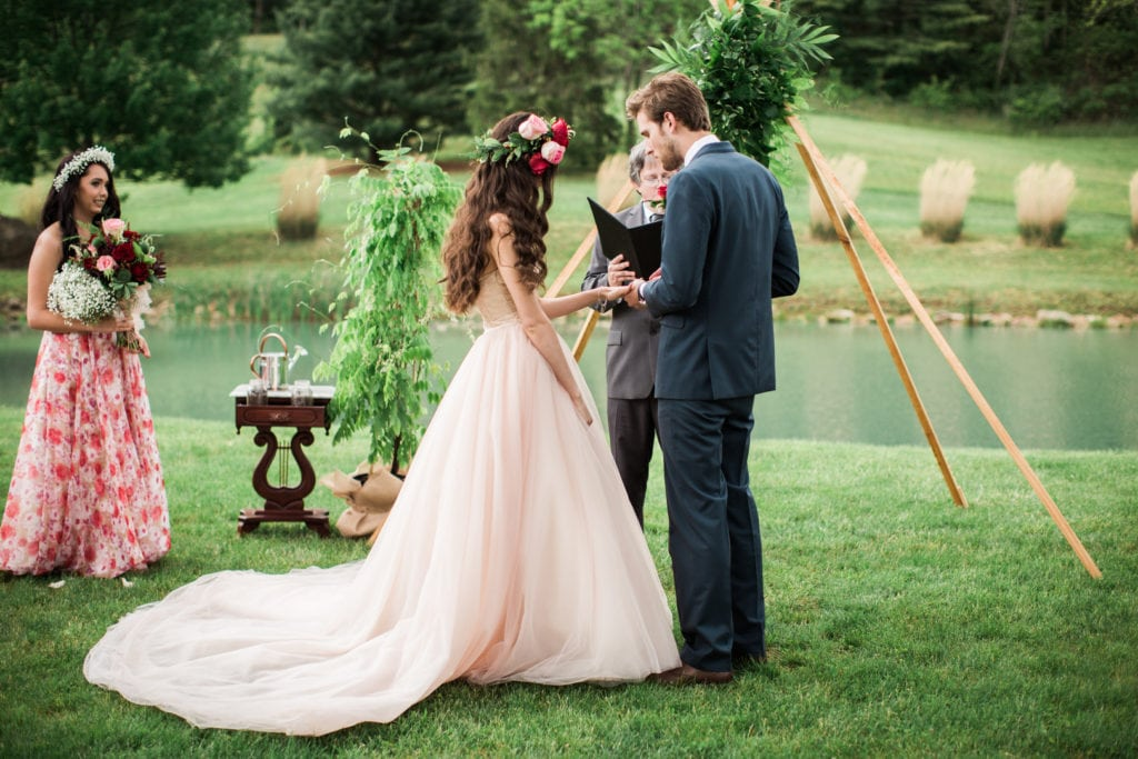 West Virginia Wedding Story Writer Photographer Jasmine White blush wedding dress