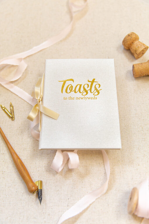 toast booklet in gold foil