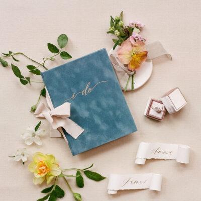 French blue velvet wedding story writer vow book