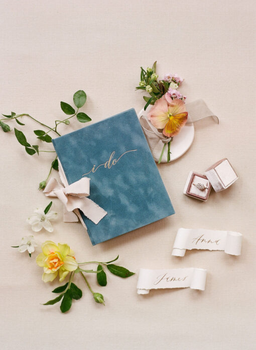 French blue velvet wedding story writer vow book