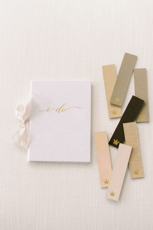 Wedding Story Writer white velvet peach linen vow books