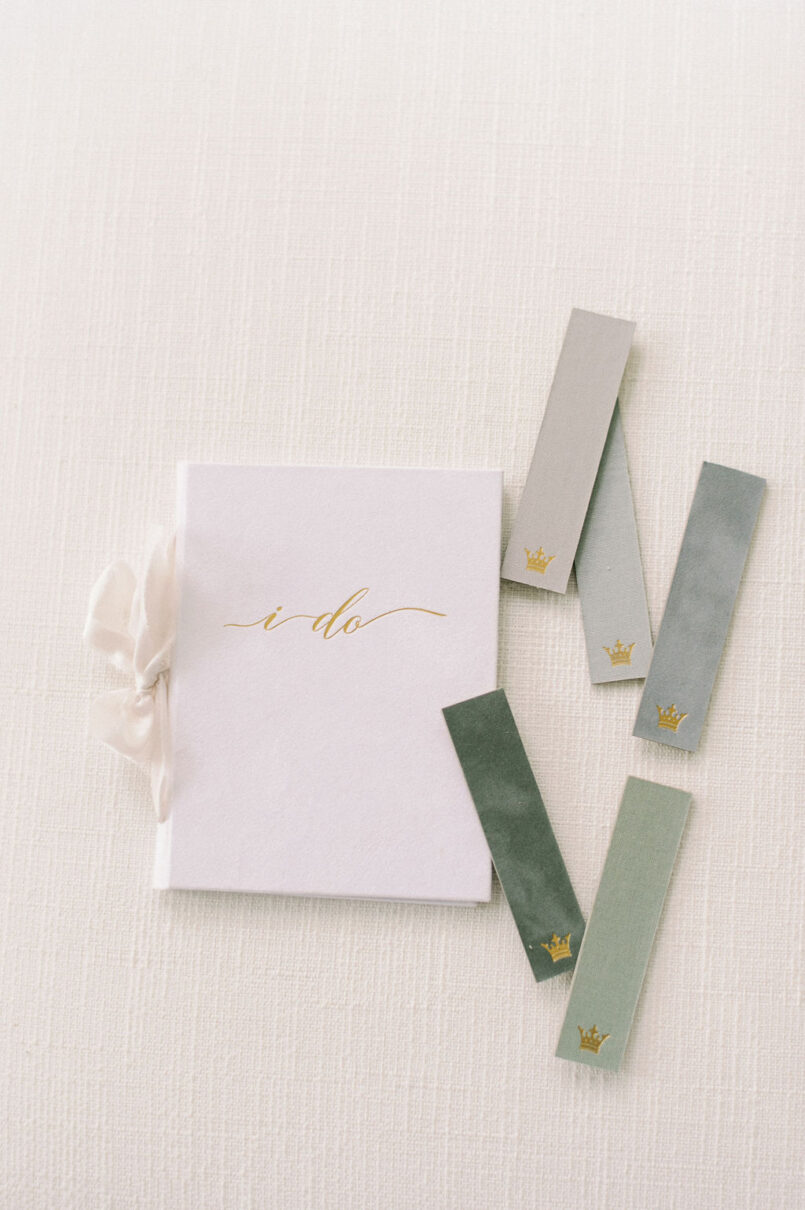 Wedding Story Writer linen flocked velvet vow books