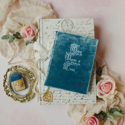 Dusky blue velvet vow book Once Upon a Time Fairytale